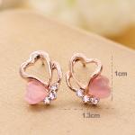 Женские сережки золотистые и розовые сердечки со стразами