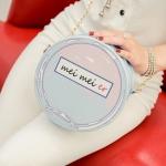 Элегантная женская сумка, круглая, светло-голубая с розовым, сумочка для девушки