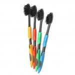 Набор из 4 черных мягких зубных щеток из нано бамбукового древесного угля